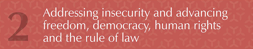 Addressing insecurity and advancing freedom, democracy, human rights and the rule of law