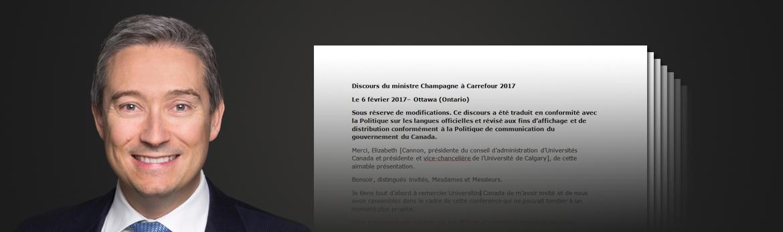 Lisez les discours de Le ministre du Commerce international François-Philippe Champagne ainsi que ses déclarations les plus récentes à la Chambre des communes