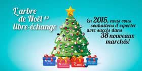 L'arbre de Noël du libre-échange – En 2015, nous vous souhaitons d'exporter avec succès dans 38 nouveaux marchés!