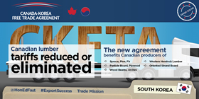 Canada-Korea Free Trade Agreement: Canadian lumber tariffs reduced or eliminated. The new agreement benefits Canadian producers of spruce, pine, fir, western hemlock lumber, particle board, ply wood, oriented strand board, wood beams and arches