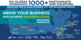 Go Global Workshops: 1000+ Participants and counting – Watch out for us soon in Quebec City and Newmarket-Aurora – Grow your business and achieve export success, 15+ upcoming workshops. Places we've been so far: Nov. 21, Richmond, BC; Nov. 28, Mississauga, ON; Dec. 5, Halifax, NS; Jan. 20, Maple, ON; Jan. 29, Kitchener, ON; Jan. 30, Edmonton, AB; Feb. 6, Saskatoon, SK; Feb. 20, Moncton, NB; Feb. 27, Laval, QC; Mar. 4, Oakville, ON. Upcoming Workshops: Mar. 19, Quebec City, QC; Mar. 30 Newmarket-Aurora, ON; Apr. 9, Winnipeg, MB; Apr. 24, Nanaimo, BC.
