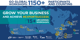 Go Global Workshops: 1150+ Participants and counting – Grow your business and achieve export success, 15+ upcoming workshops. Places we've been so far: Nov. 21, Richmond, BC; Nov. 28, Mississauga, ON; Dec. 5, Halifax, NS; Jan. 20, Maple, ON; Jan. 29, Kitchener, ON; Jan. 30, Edmonton, AB; Feb. 6, Saskatoon, SK; Feb. 20, Moncton, NB; Feb. 27, Laval, QC; Mar. 4, Oakville, ON; Mar. 19, Lévis, QC; Mar. 30 Uxbridge, ON. Upcoming Workshops: Apr. 9, Winnipeg, MB; Apr. 24, Nanaimo, BC.