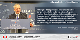 Hitting the 2,000 participant milestone shows that our government's Go Global export workshops are reaching Canadian small and medium-sized businesses. This government's priority is the same as that of all Canadians: jobs and economic growth. By opening up new markets for Canadian companies around the world, we are creating jobs and prosperity here at home.