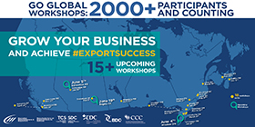 Go Global Workshops: 2000+ Participants and counting – Grow your Business and achieve export success, 15+ upcoming workshops. Places we've been so far: Nov. 21, Richmond, BC; Nov. 21, Vancouver, BC;  Nov. 27, Montreal, QC; Nov. 28, Mississauga, ON; Dec. 5, Halifax, NS; Jan. 20, Maple, ON; Jan. 29, Kitchener, ON; Jan. 30, Edmonton, AB; Feb. 6, Saskatoon, SK; Feb. 20, Moncton, NB; Mar. 4, Oakville, ON; Mar. 19, Lévis, QC; Mar. 30, Uxbridge, ON; Apr. 8, Winnipeg, MB; Apr. 21, Ottawa, ON; Apr. 24, Nanaimo, BC; May 1, Vaughan, ON. Upcoming Workshops: Jun. 4, Windsor, ON; Jun. 5, Edmonton, AB; Jun. 19, Regina, SK.