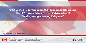 Best wishes to our friends in the Philippines celebrating the 117th anniversary of their independence! Maliagayang arawa ng Kalayaan!