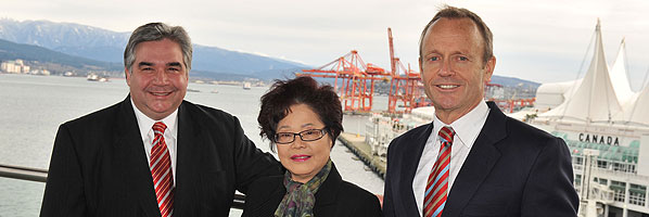 Ministers Van Loan and Day, accompanied by Alice Wong, Member of Parliament for Richmond.