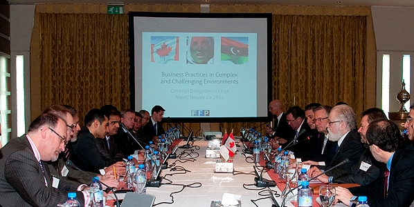 Minister Fast with Canadian companies interested in doing business in Libya.