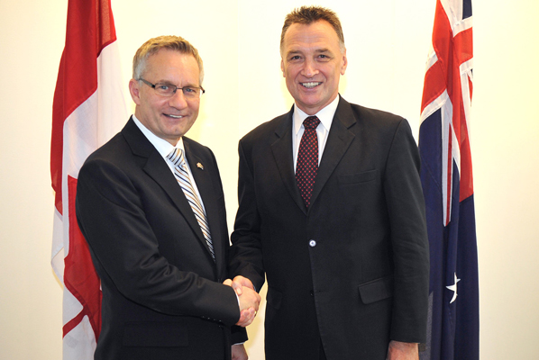 Minister Fast with Australia's Minister of Trade and Competitiveness, Craig Emerson.