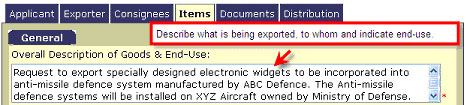 Excol Screenshot Overall Description of Goods & End-Use field