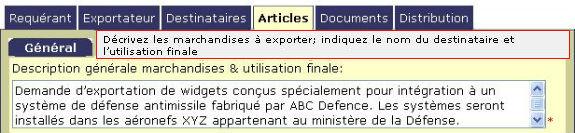 Saisie d'écran CEED - Description générale des marchandises et utilisation finale