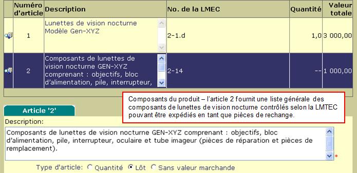 Saisie d'écran CEED- example de liste des composantes