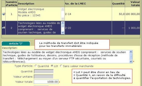 Saisie d'écran CEED example de transferts immatériels