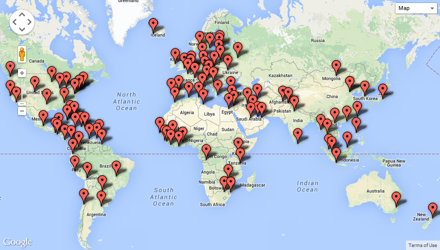 Canada Missions On Social Media - Us embassy map