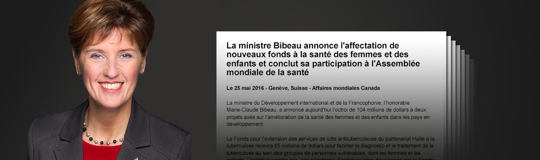 Lisez les discours de la ministre du Développement international et de la Francophonie Marie-Claude Bibeau ainsi que ses déclarations les plus récentes à la Chambre des communes