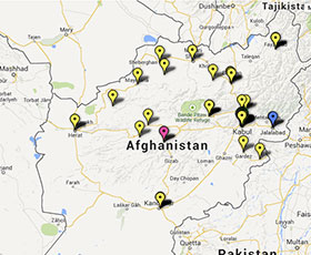 Map of projects in Afghanistan