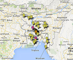Map of projects in Bangladesh