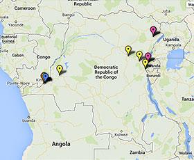 Carte des projets en République démocratique du Congo