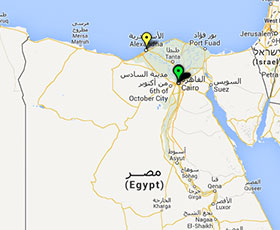 Map of projects in Egypt