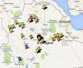 Map of projects in Ethiopia