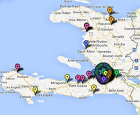 Map of projects in Haiti