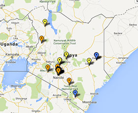 Map of projects in Kenya