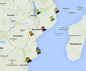 Map of projects in Mozambique