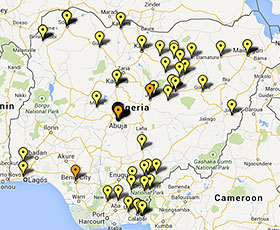 Map of projects in Nigeria