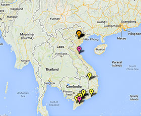Map of projects in Vietnam