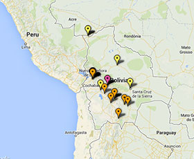 Map of projects in Bolivia