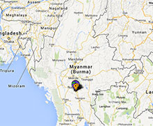 Map of projects in Burma