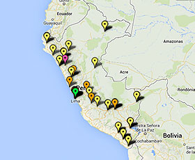 Map of projects in Peru