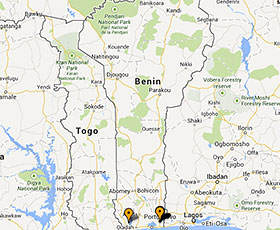 Map of projects in Benin