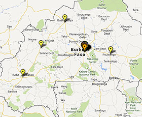 Map of projects in Burkina Faso
