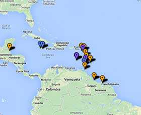 Map of projects in Caribbean