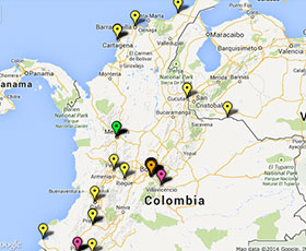 Map of projects in Colombia