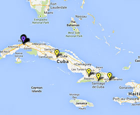 Map of projects in Cuba