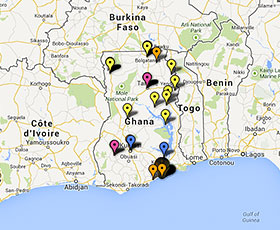 Map of projects in Ghana
