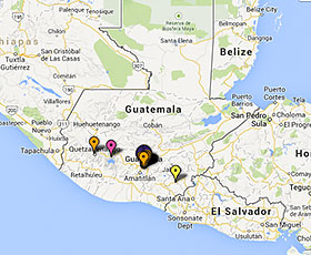 Map of projects in Guatemala
