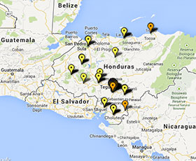 Map of projects in Honduras