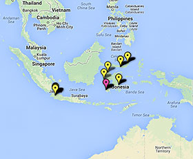 Map of projects in Indonesia