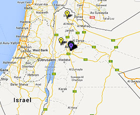 Map of projects in Jordan