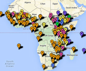 Map of international development projects in Sub-Saharan Africa