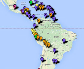 Map of international development projects in the Americas