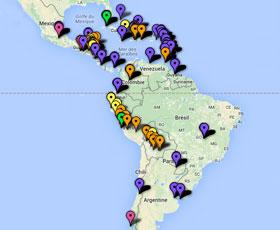 Carte des projets dans les Amériques