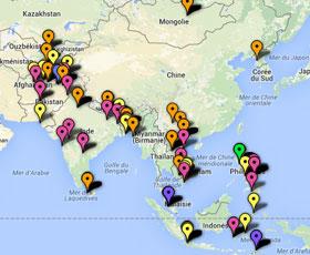 Carte des projets en Asie Pacifique