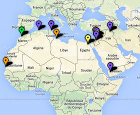 Carte des projets au Moyen-Orient et en Afrique du Nord