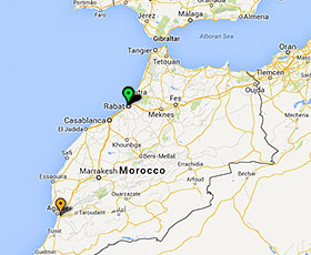 Map of projects in Morocco