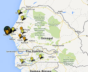 Map of projects in Senegal