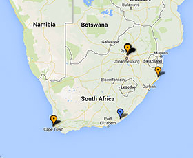 Map of projects in South Africa