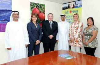 Honourable Darrell Dexter, Premier of Nova Scotia, and EduNova President and CEO Ava Czapalay visiting the EduNova Gulf office in Abu Dhabi.